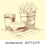 Vector still-life. A fresh breakfast: a hamburger, French fries and a drink on a napkin