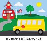 school scene with school bus | Shutterstock .eps vector #82798495
