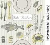 fish kitchen card   Shutterstock .eps vector #82837090