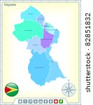 guyana map with flag buttons... | Shutterstock .eps vector #82851832