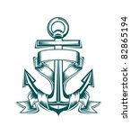 ancient anchor with ribbons for ... | Shutterstock .eps vector #82865194