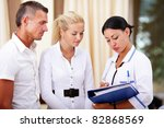 medical doctor and young couple ... | Shutterstock . vector #82868569