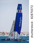 Small photo of CASCAIS, PORTUGAL - AUGUST 14- America's Cup AC World Series - Fleet Race - Aleph Team in Cascais, Portugal, August 14, 2011