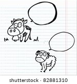 doodle sketch cow and sheep... | Shutterstock .eps vector #82881310