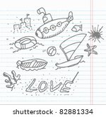 doodle sketch beach and sea | Shutterstock .eps vector #82881334