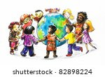children of different races... | Shutterstock . vector #82898224