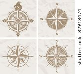 vintage compass roses | Shutterstock . vector #82918474