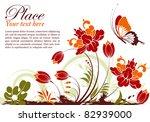 Grunge Floral Frame With...