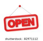 3d shopping sign board   open | Shutterstock . vector #82971112
