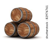 image of the old oak barrels on ... | Shutterstock . vector #82976761