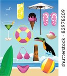 beach icons  a collection of... | Shutterstock .eps vector #82978309