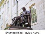 Stock photo john harvard statue in harvard university in cambridge massachusetts usa 82987198
