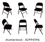 ... Six Vector Fold Out Chair Silhouettes.
