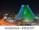 Metropolitan Cathedral of Rio de Janeiro under special illumination - stock photo