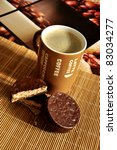 coffee latte with cookies on a...   Shutterstock . vector #83034277
