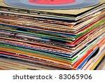 old vinyl records pile | Shutterstock . vector #83065906