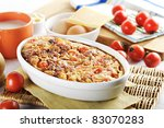 Tomato, meat and cheese bake - stock photo