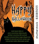 halloween poster with black cat ... | Shutterstock .eps vector #83085055