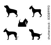 Stock vector vector graphic dogs silhouette icon set 83089993