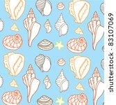 beautiful sea shell seamless... | Shutterstock .eps vector #83107069