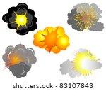 cartoon explosions set   vector