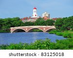 Stock photo john w weeks bridge and clock tower over charles river in harvard university campus in boston with 83125018