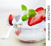 strawberries with yogurt | Shutterstock . vector #83127403