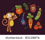 set of cute vegetables monsters ...