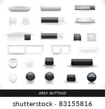 set of grey buttons. vector...