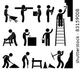 Man People Working Construction Carrying Building Industry Painting Sawing Hard Labor Pictogram Icon Symbol Sign - stock vector