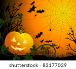 Drawing by day halloween with a pumpkin, a web and bats - stock vector