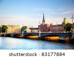 Stockholm, Sweden in Europe. Waterfront view on architecture - stock photo
