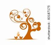 beautiful art tree and birds... | Shutterstock .eps vector #83187175