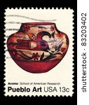 Small photo of USA - CIRCA 1977 : A stamp printed in the USA shows Acoma: School of American Research, Pueblo Art, circa 1977