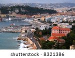 Aerial view of the Mediterranean city of Nice in French Riviera. - stock photo