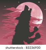 A frightening werewolf silhouette howling at the moon. Halloween illustration. - stock vector