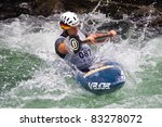 BANJA LUKA, BOSNIA AND HERZEGOVINA - JULY 16: An unidentified athlete from GERMANY competes at European Junior and U23 Canoe Slalom Championships on July 16, 2011 in Banja Luka, Bosnia Herzegovina - stock photo