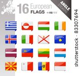 angle stickers   european flags | Shutterstock .eps vector #83307694
