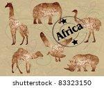 wild animals of africa  stamp ... | Shutterstock .eps vector #83323150