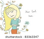 card with a girl who is... | Shutterstock .eps vector #83363347