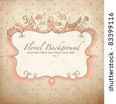 vector floral frame with a bird | Shutterstock .eps vector #83399116