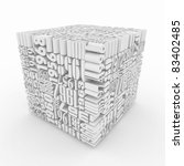 Years. Cube consisting of the numbers. 3d - stock photo