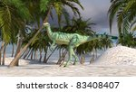 dilophosaurus in oasis - stock photo