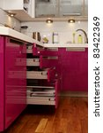 pink kitchen in city flat | Shutterstock . vector #83422369