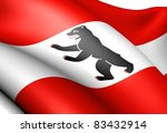 Flag of Berlin, Germany. Close up. - stock photo