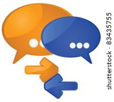 Glossy vector illustration showing a couple of talk balloons and arrows to symbolize dialog and exchange - stock vector