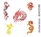 colored dragons sign set | Shutterstock .eps vector #83452588