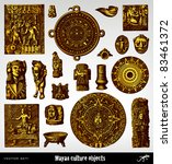 engraving vintage maya objects... | Shutterstock .eps vector #83461372