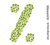 sign percent from green leafs | Shutterstock . vector #83499988