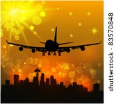 Vector illustration of the airliner and city - stock vector